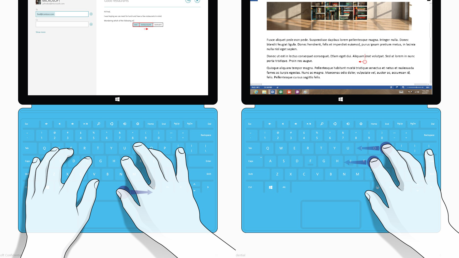 Microsoft Touch Cover 2 - Keyset gesture interactions