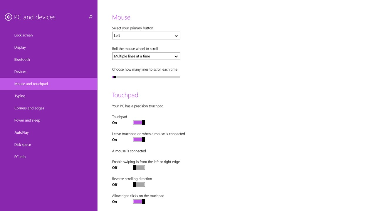 Microsoft Windows 8 - Precision Touchpad settings