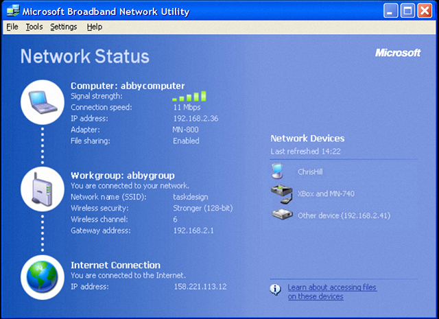 Microsoft Broadband Networking Utility - Network Status screen