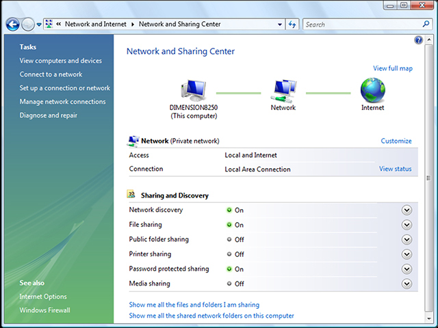 Windows Vista - Network and Sharing Center