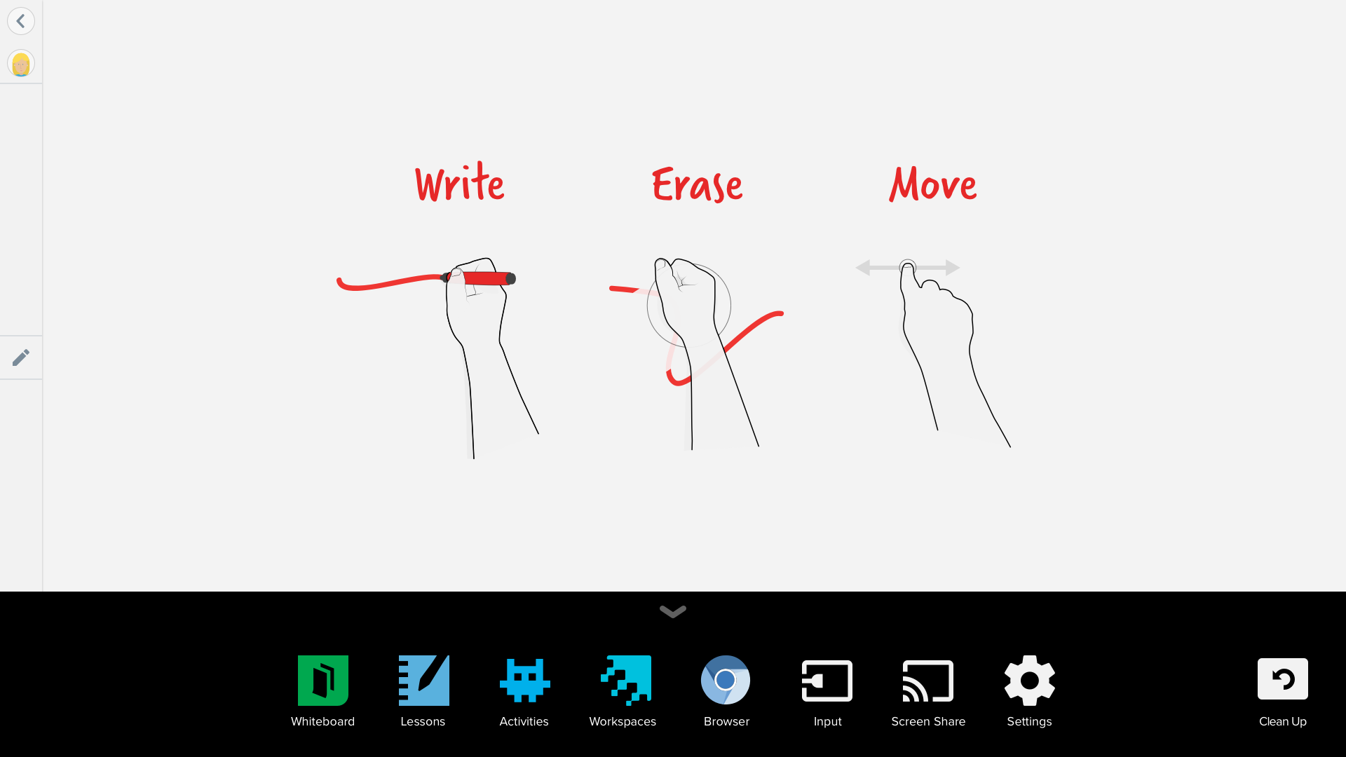 SMART Board Embedded Experience - Whiteboard application - App launcher open